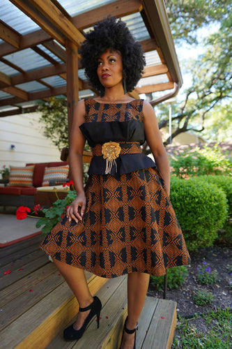 Black and Brown Adire Dress with Gold Trim