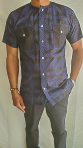 Blue Round Neck Short Sleeve Adire Shirt w Pockets