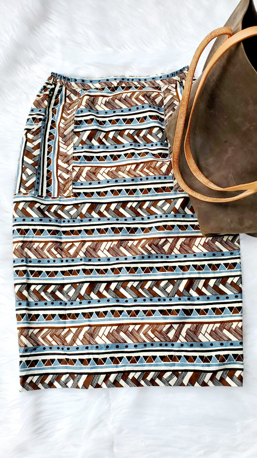 Blue and Brown Pencil Skirt
