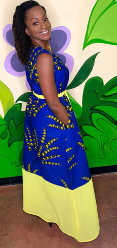 Blue and Yellow Print Dress