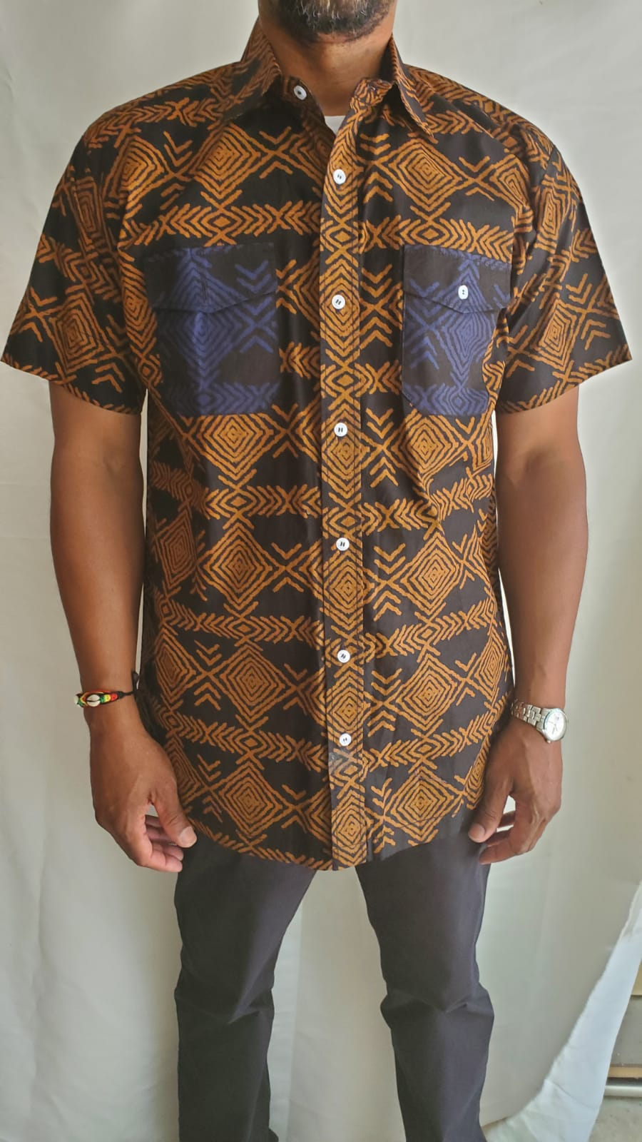 Brown Short Sleeve Adire Shirt w Pockets
