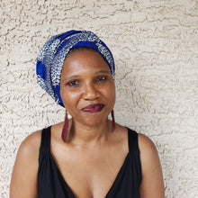 Blue and White Headwrap/ Scarf