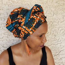 Orange and Blue Headwrap/ Scarf
