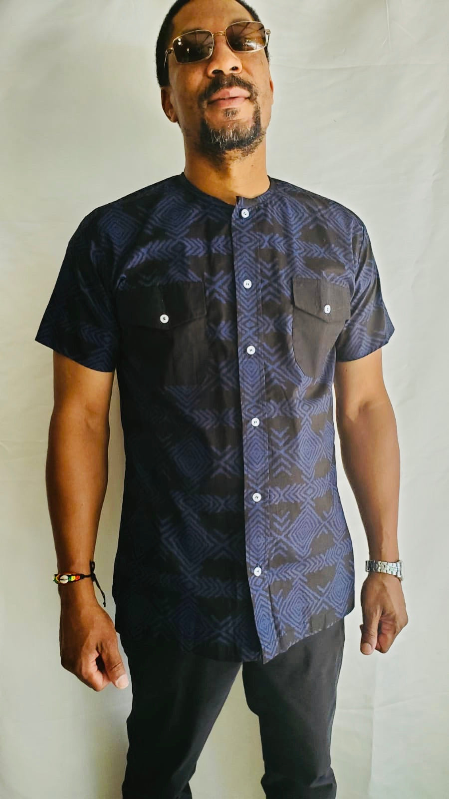 Blue Short Sleeve Adire Shirt w Pockets
