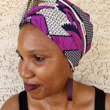 Purple and White Headwrap/ Scarf