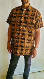 Brown Short Sleeve Adire Shirt