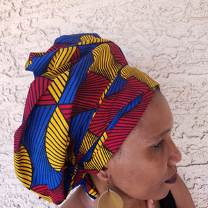 Red, Yellow, and Blue Headwrap/ Scarf