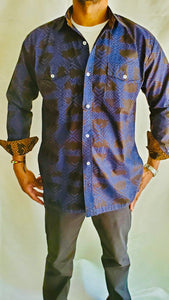 Blue Long Sleeve Adire Shirt w Pockets