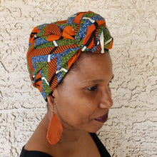 Orange/w green and blue accents Headwrap/ Scarf