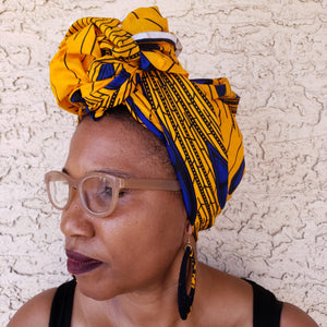 Yellow and Blue Headwrap/ Scarf