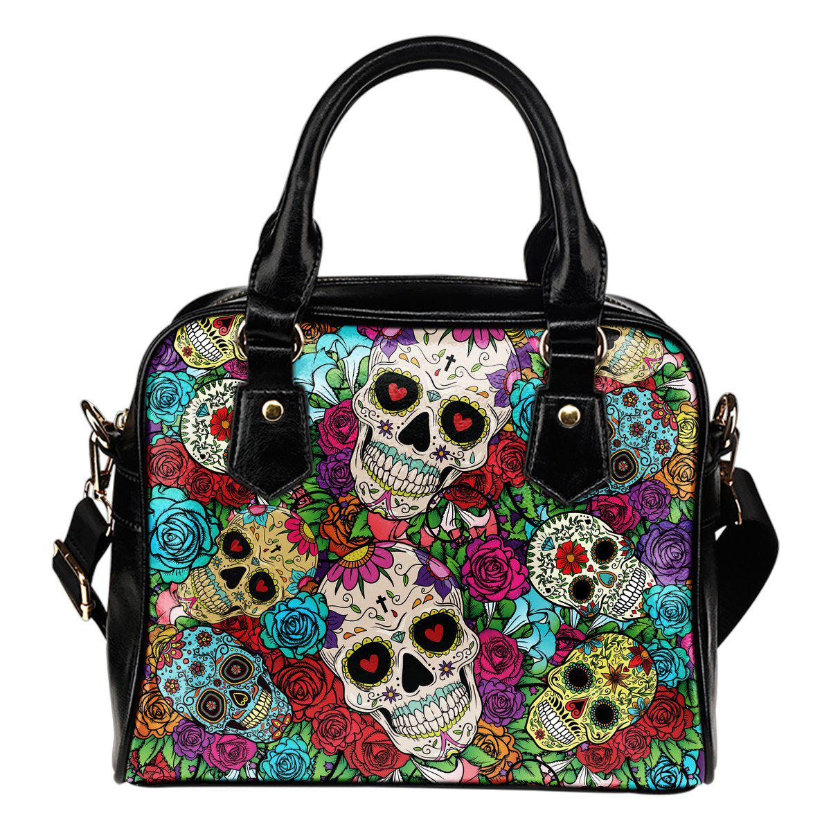 Sugar Skull Shoulder PU Leather Handbag