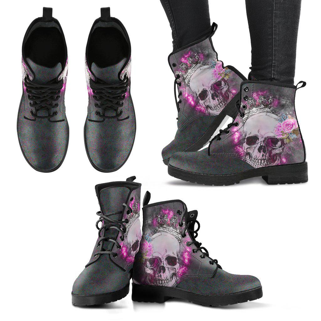 Skull With A Crown Handcrafted Vegan-Friendly Leather Boots