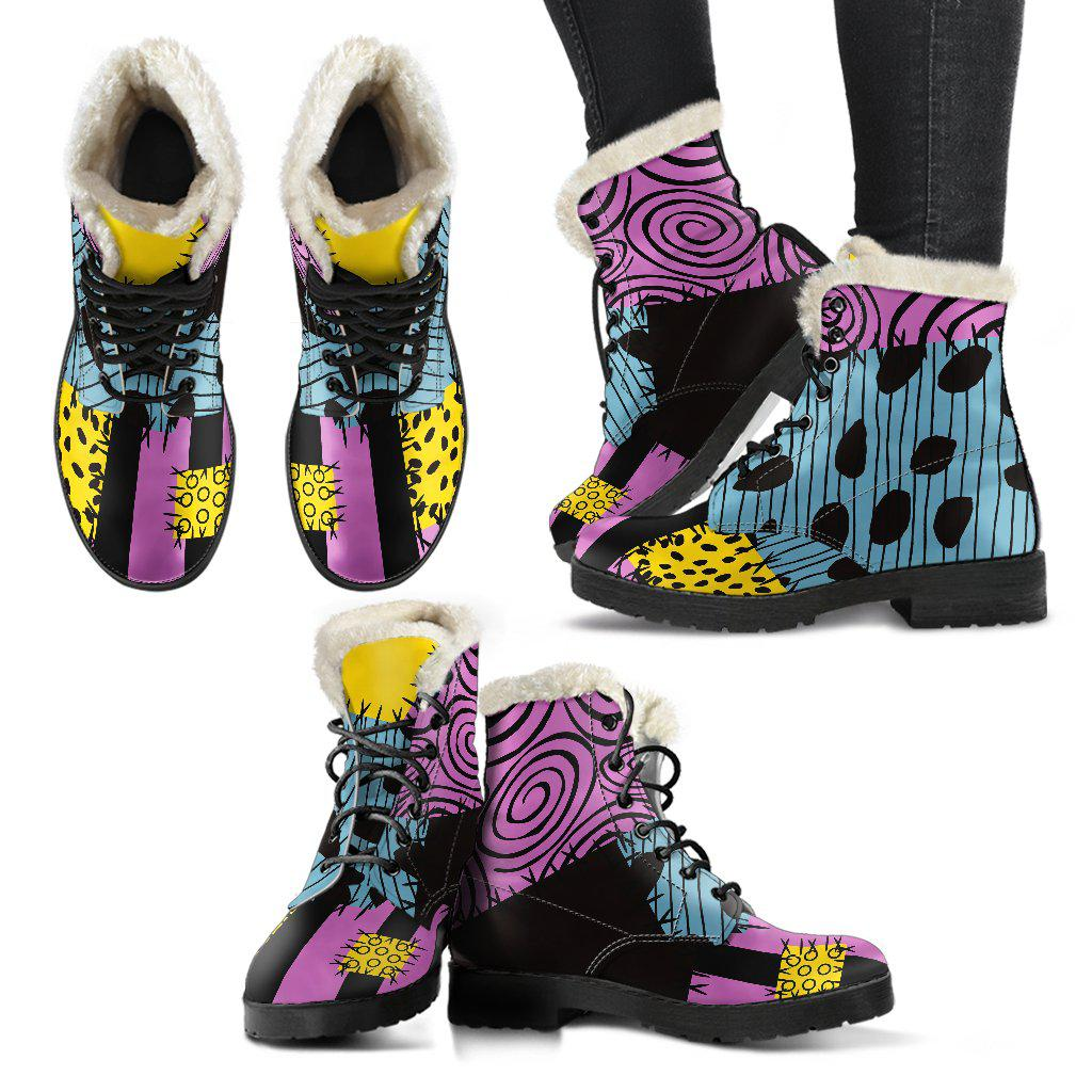 Nightmare Before Christmas, Sally Faux Fur Leather Boots