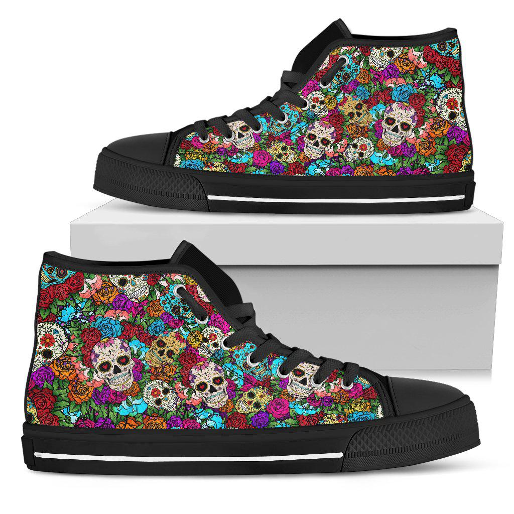 Sugar Skull Handcrafted Canvas High Top Shoes