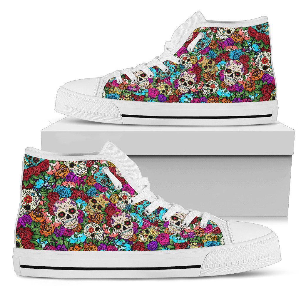 Sugar Skull Handcrafted High Top Shoes