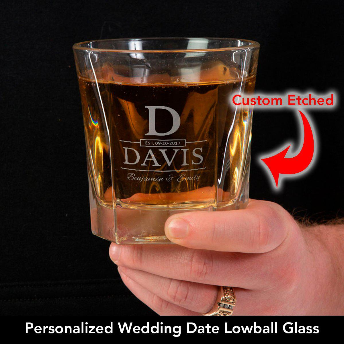 Wedding Date - Personalized Lowball Glass