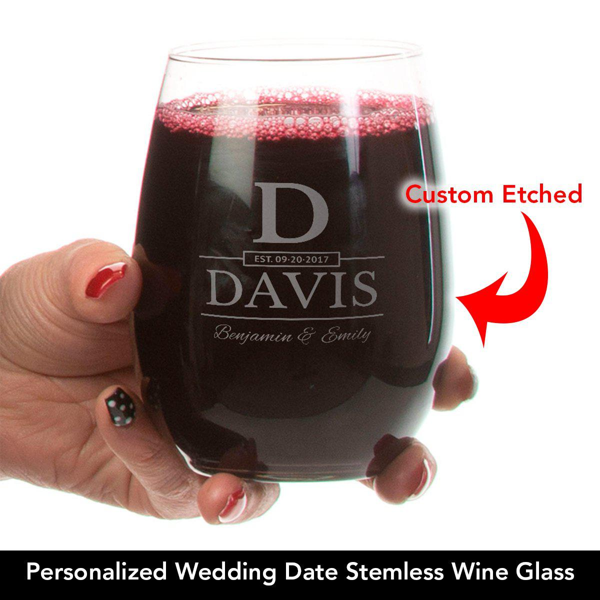 Wedding Date - Personalized Stemless Wine Glass
