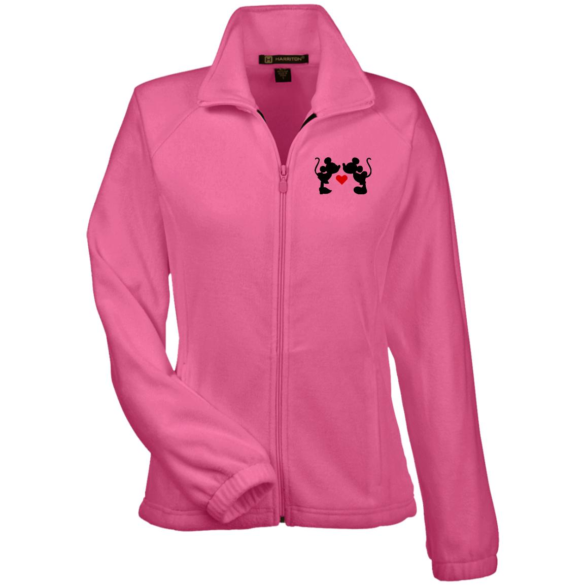 Mickey & Minnie Kissing Embroidered Women's Fleece Jacket