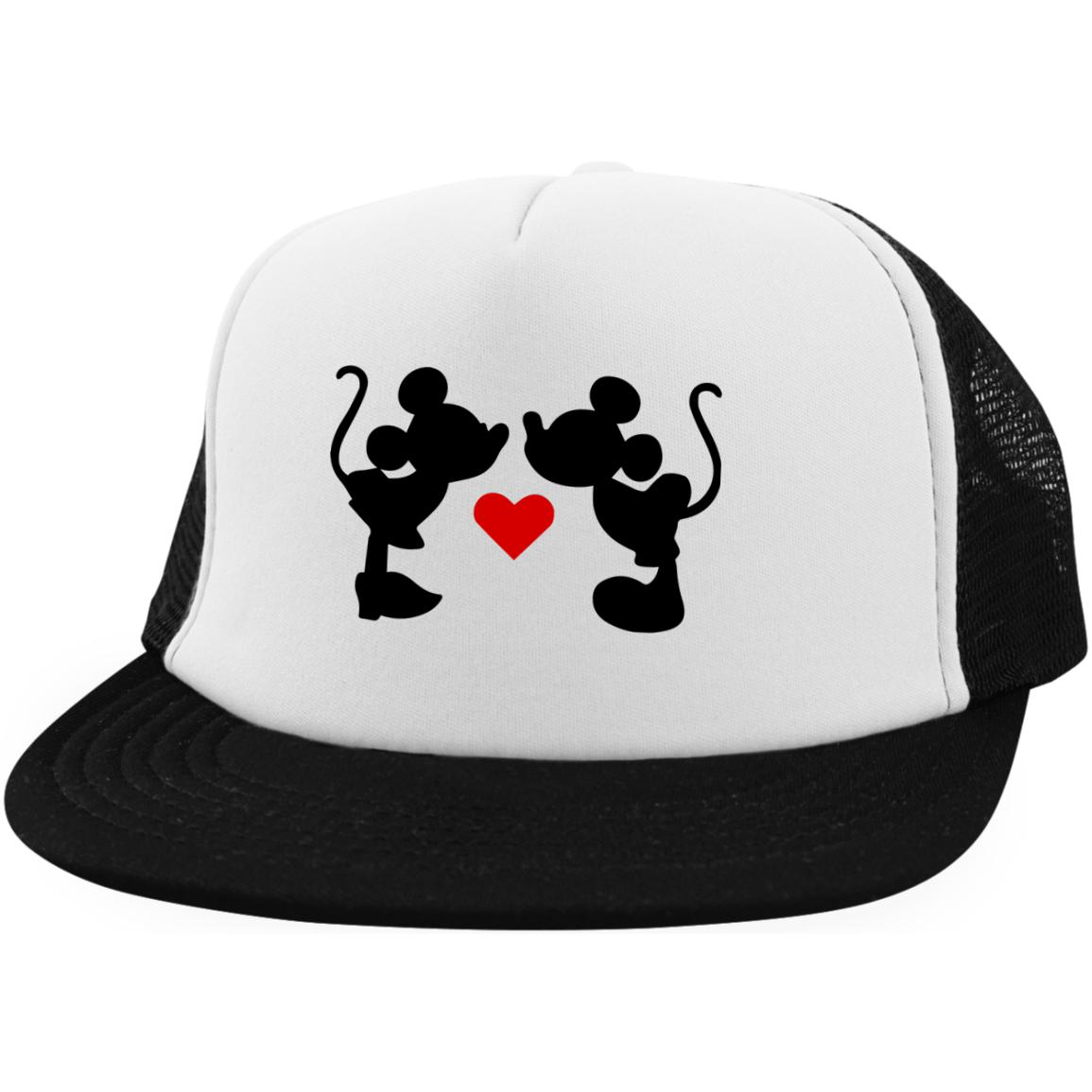 Mickey & Minnie Kissing Trucker Hat with Snapback