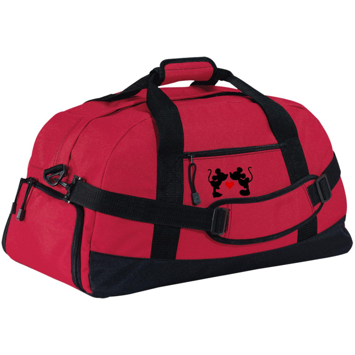Mickey & Minnie Kissing Embroidered Large-Sized Duffel Bag