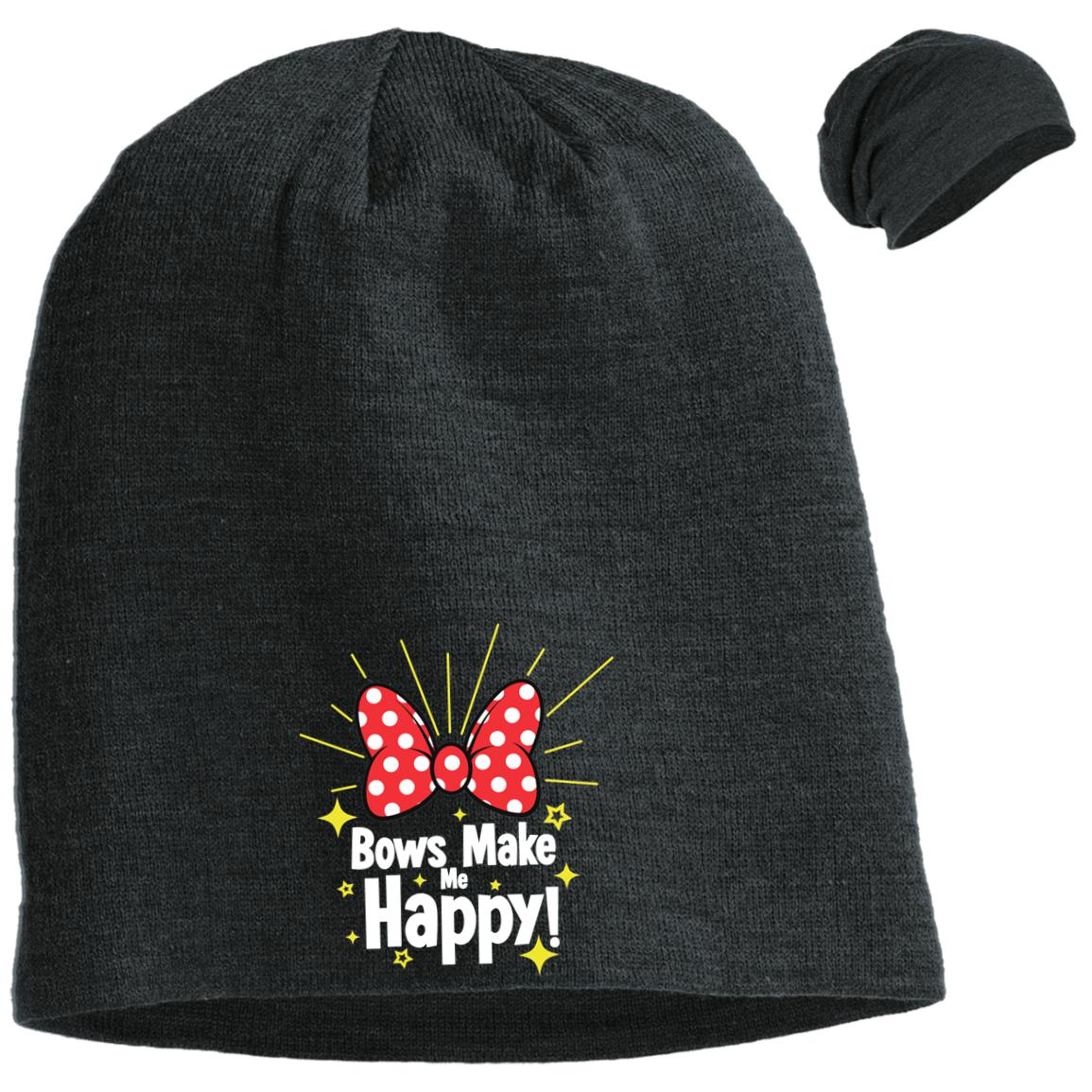 Bows Make Me Happy - Embroidered District Slouch Beanie