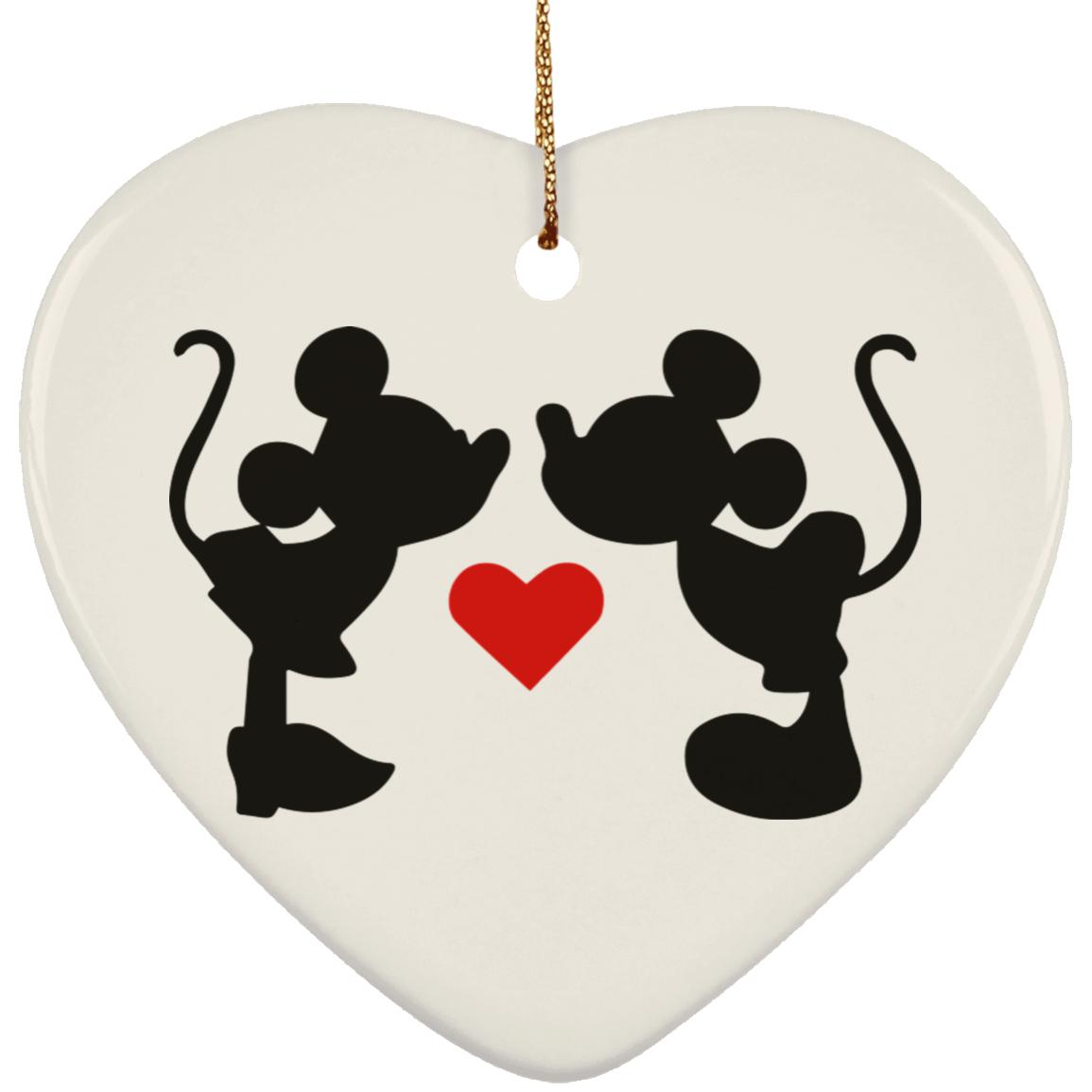 Mickey & Minnie Kissing - Ceramic Heart Ornament