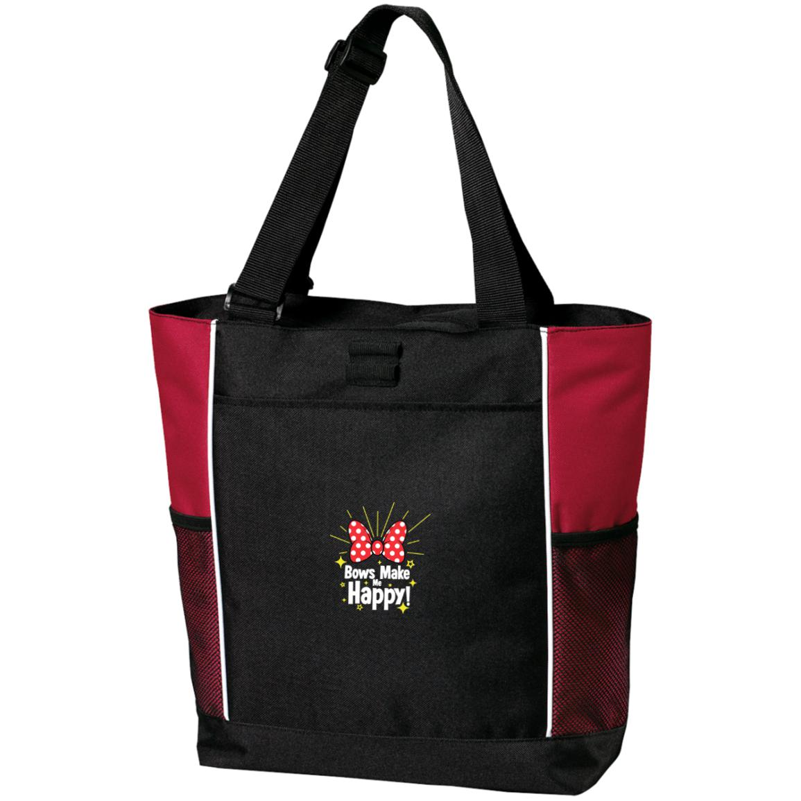 Bows Make Me Happy - Embroidered Port Authority Colorblock Zipper Tote Bag