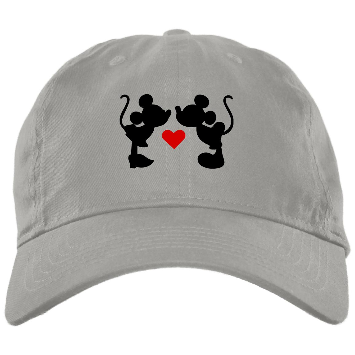 Mickey & Minnie Kissing Embroidered Brushed Twill Hat