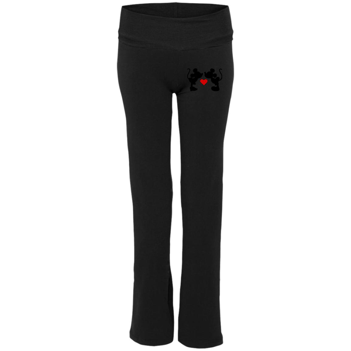 Mickey & Minnie Kissing Embroidered Ladies' Yoga Pants