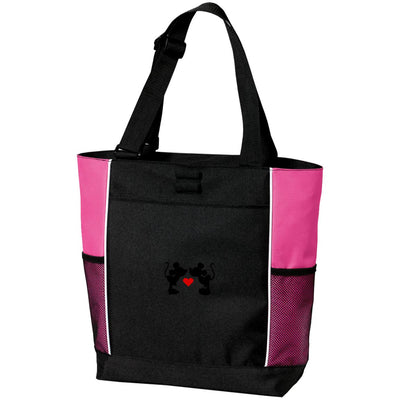 Mickey & Minnie Kissing Embroidered Zipper Tote Bag