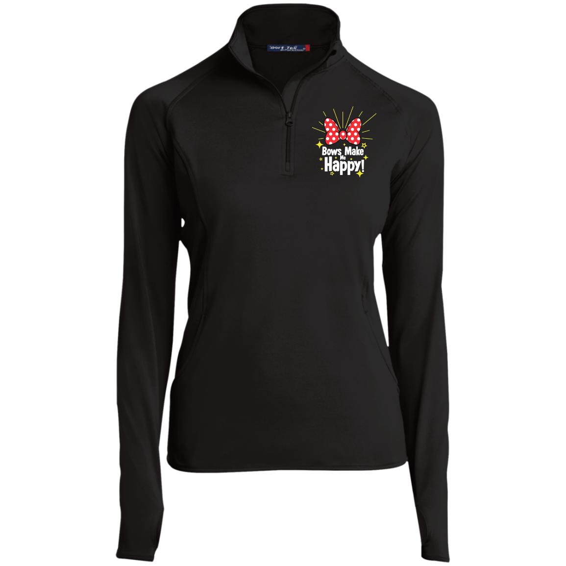 Bows Make Me Happy - Embroidered Sport-Tek Women's 1/2 Zip Performance Pullover