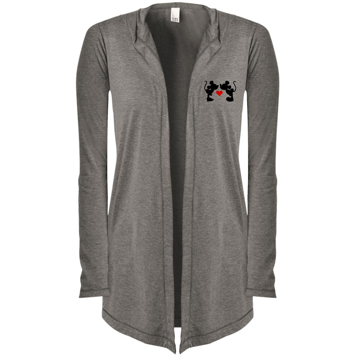 Mickey & Minnie Kissing Embroidered Women's Hooded Cardigan