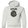 Baby Yoda, Love Me You Must, Youth Pullover Hoodie
