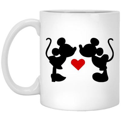 Mickey & Minnie Kissing - 11 oz. White Mug