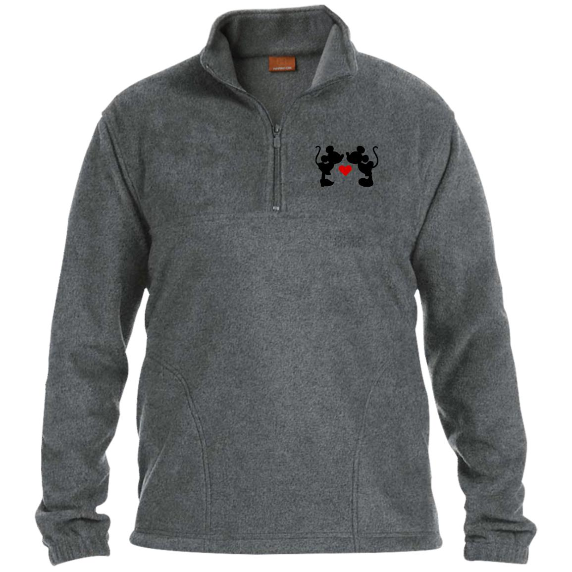 Mickey & Minnie Kissing Embroidered 1/4 Zip Fleece Pullover