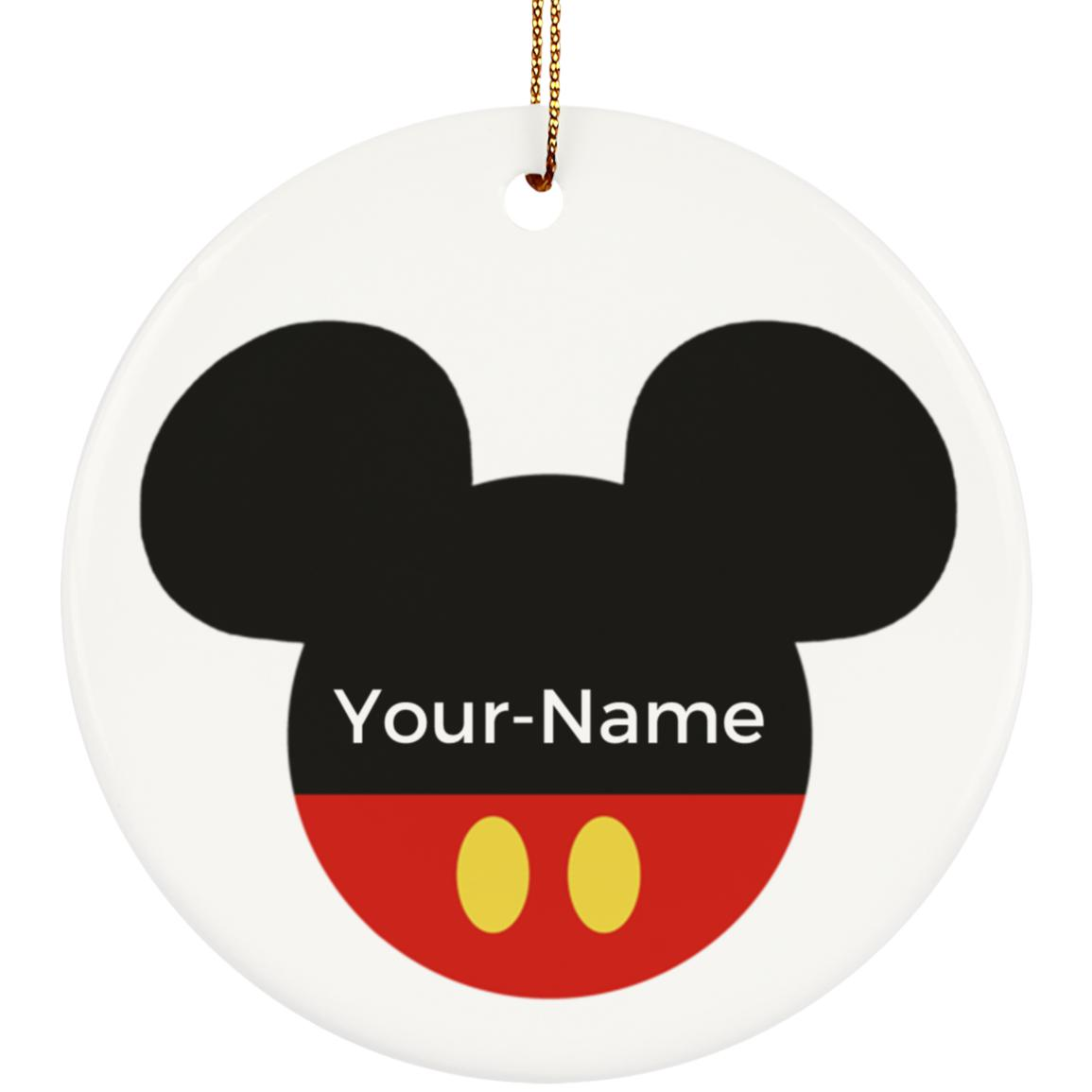 Mickey Ceramic Circle Ornament - Personalized