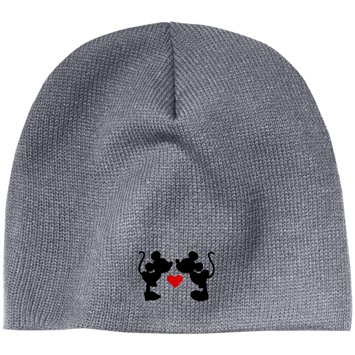 Mickey & Minnie Kissing Embroidered Beanie