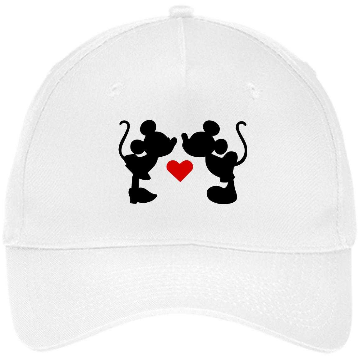 Mickey & Minnie Kissing Embroidered Five Panel Twill Cap