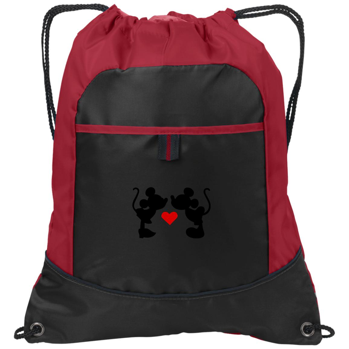 Mickey & Minnie Kissing Embroidered Pocket Cinch Pack