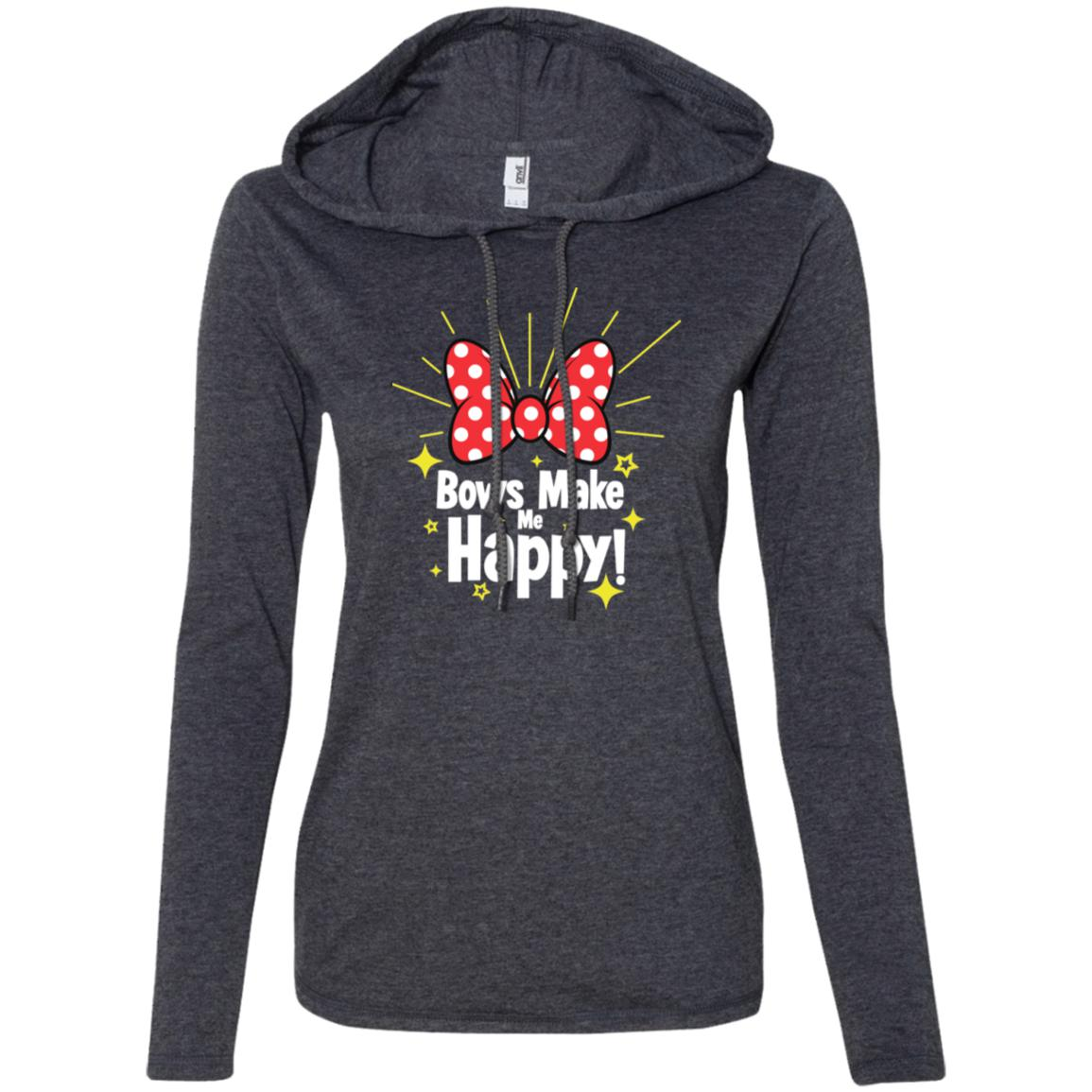 Bows Make Me Happy - Anvil Ladies' LS T-Shirt Hoodie