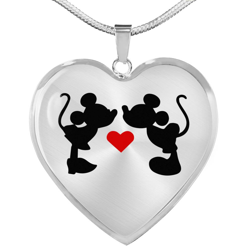 Mickey & Minnie Kissing - Heart Pendant Necklace in Steel or 18k Gold Finish