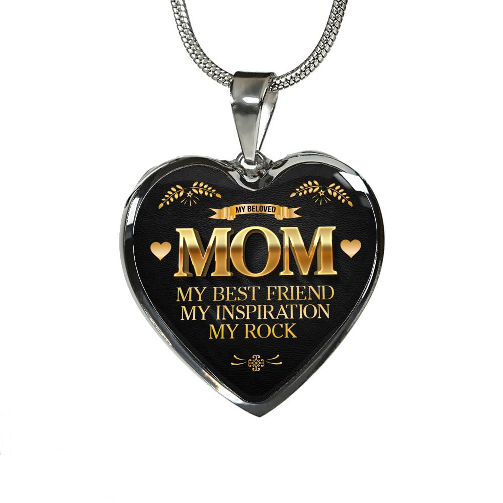 Heart Pendant Necklace or Bangle - My Beloved Mom My Best Friend My Inspiration My Rock - Silver or 18k Gold Finish