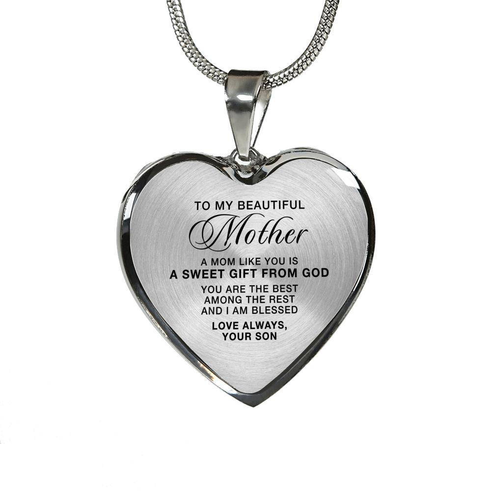 Heart Necklace in Silver or 18k Gold Finish - To Mother From Son A Sweet Gift From God