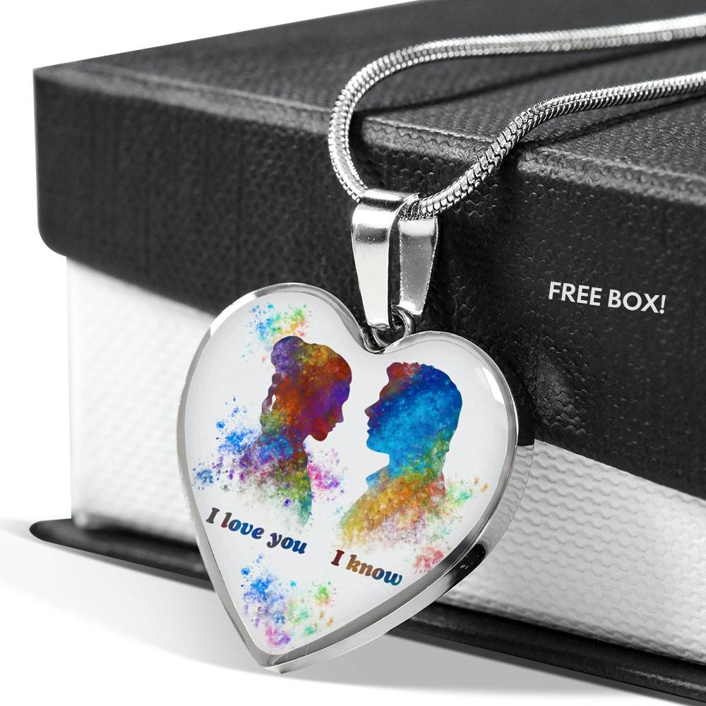 I Love You I Know - Leia & Han - Heart Pendant Necklace