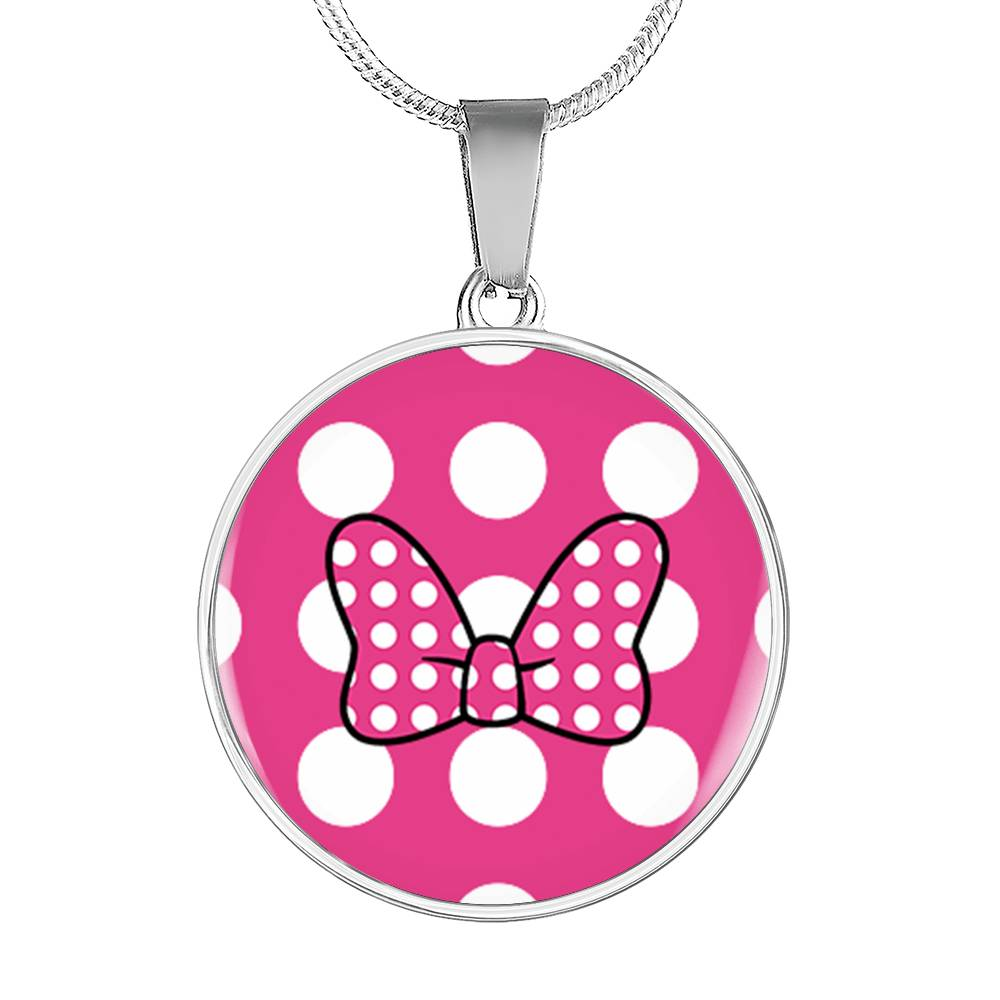 Minnie Bow - Pink - Circle Pendant Necklace in Steel or 18k Gold Finish