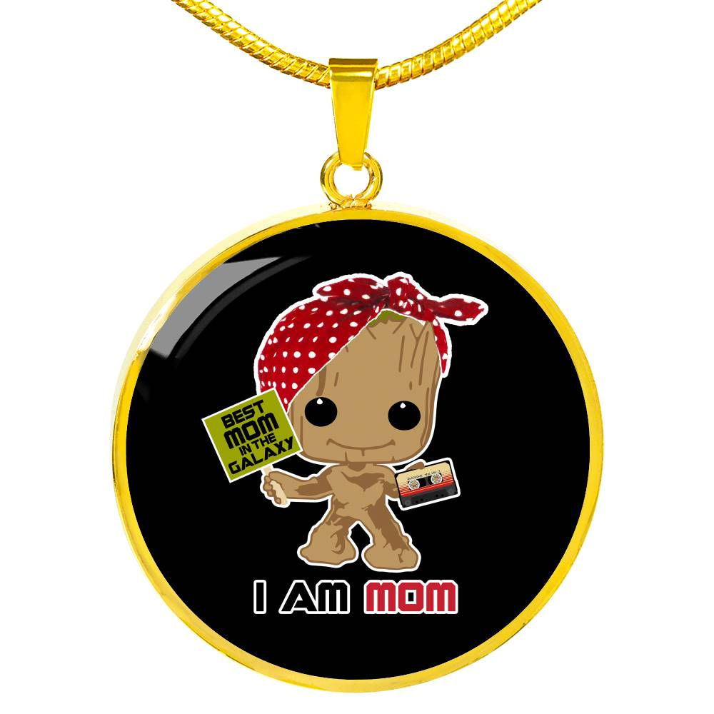 I Am Mom - Circle Pendant Necklace