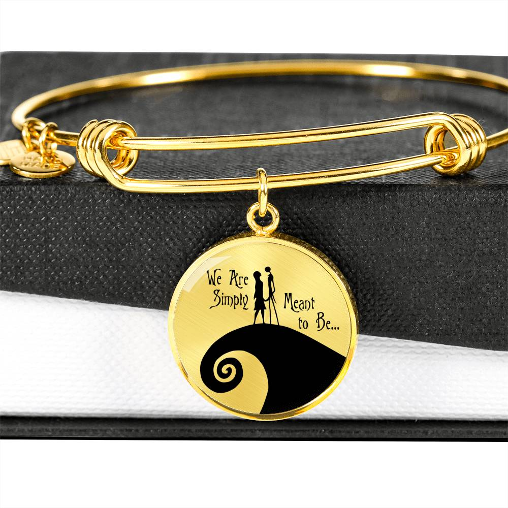 Jack & Sally, We Are Simply Meant to Be, Circle Pendant Bangle Bracelet