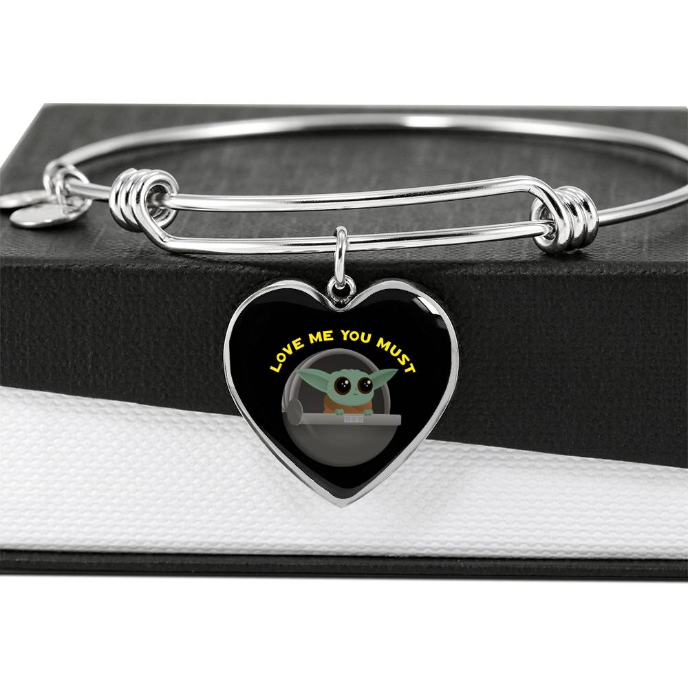 Baby Yoda Love Me You Must, Heart Pendant Bangle, Engravable