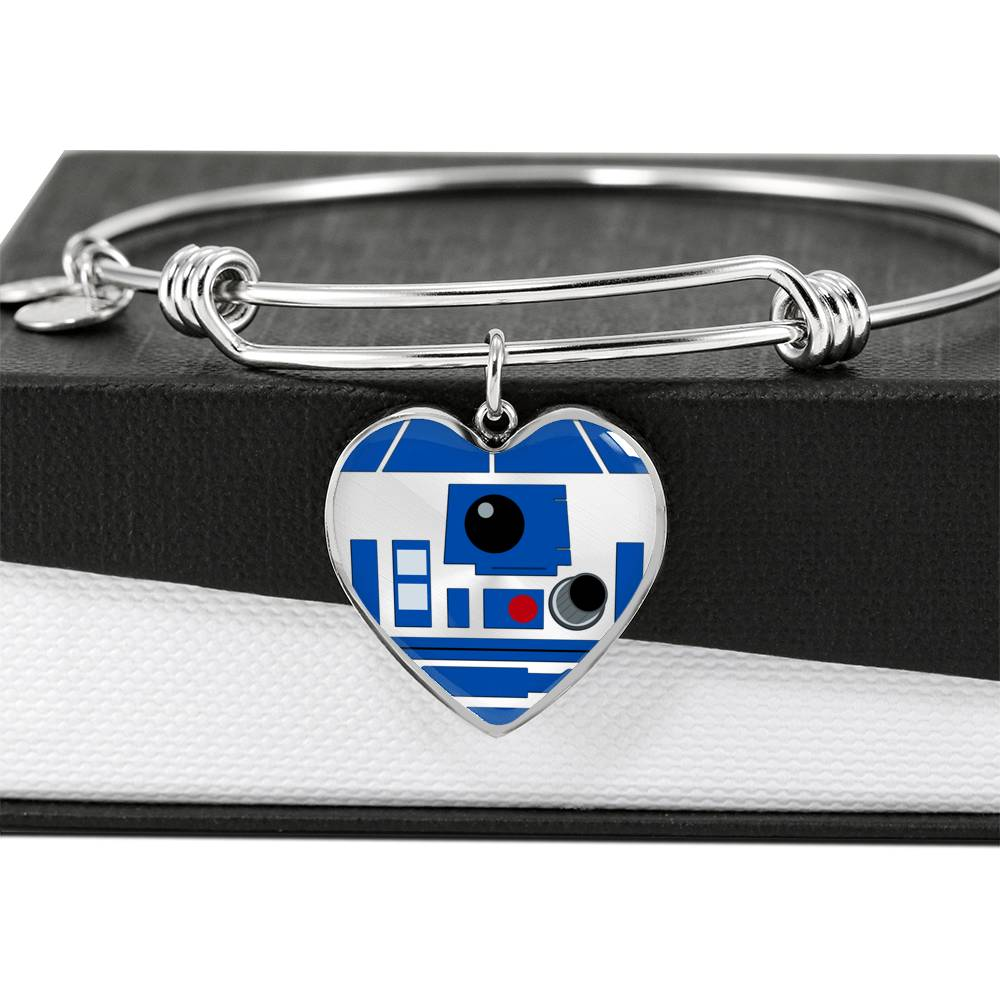 R2-D2 Luxury Heart Pendant Bangle