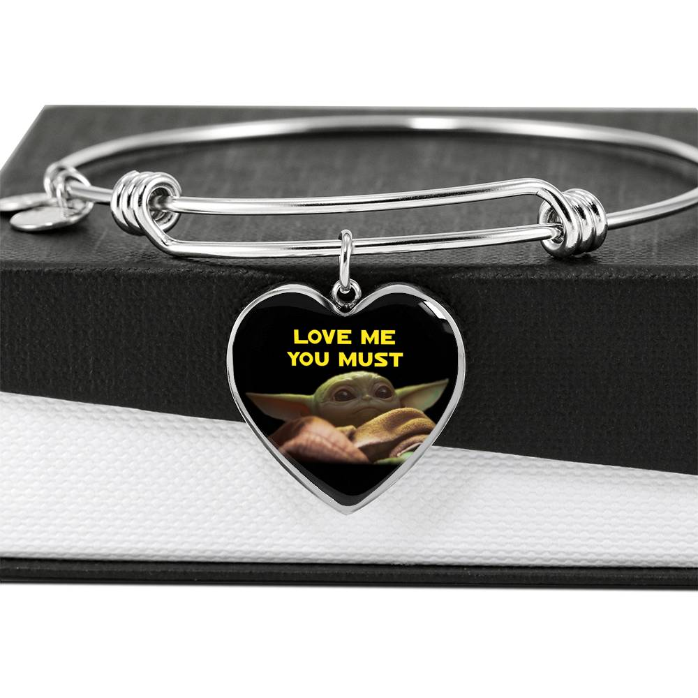 Baby Yoda Love Me You Must, Heart Pendant Bangle, Engravable 2